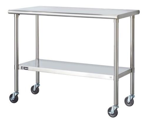 mesa de preparacion de acero inoxidable, con llantas, cocina