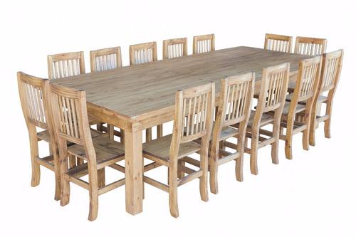 mesa de quincho 3,00 m + 14 sillas pino estilo campo,maciza