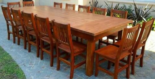 mesa de quincho 3.00 x 1.20 + 14 sillas