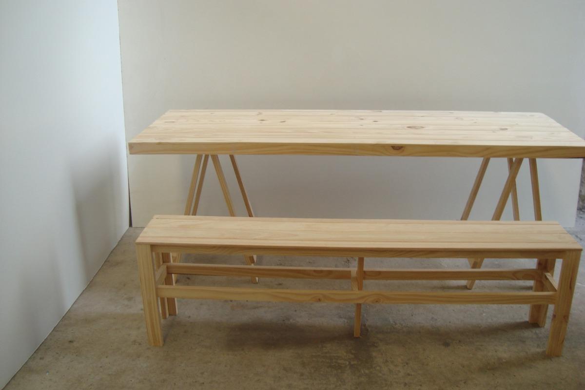 Caballetes mesa caballetes mesa mesa madera tablon for Mesa plegable quincho