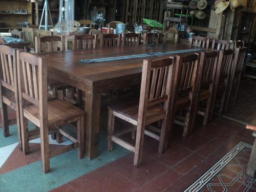 mesa de quincho quebracho lapacho mas 14 sillas los alamos