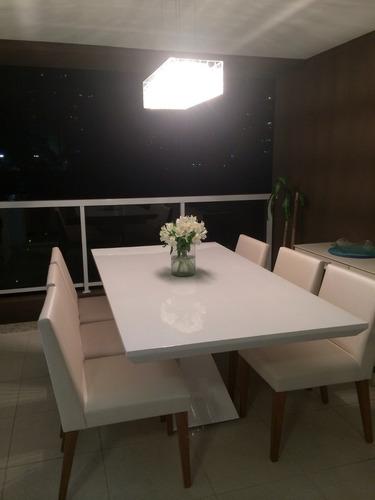 mesa de resina jantar alba branca medida 1.60 x 0.80 6 lugar