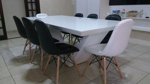 mesa de resina modelo brina 1.80 x 1.00 cor branca/6 lugares
