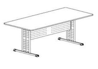 mesa de reuniao retangular compacta kas lojix  (2,70m)