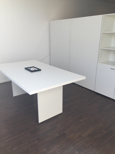 mesa de reunion en melamina blanca 1, 80 x 1,00 x 0,75 h