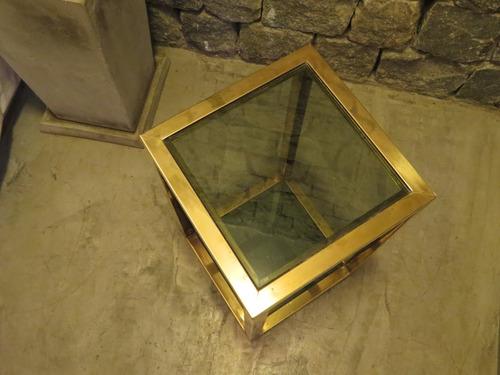 mesa de sala antigua bronce y vidrio esfumado