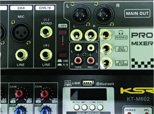 mesa de som 12 canal ksr pro bluetooth usb gravador kadu som