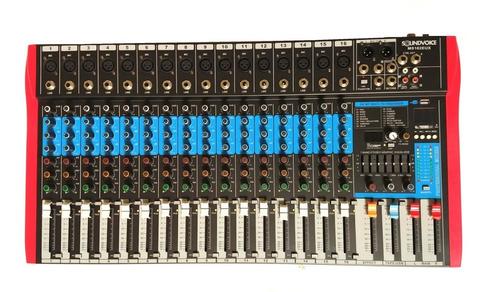 mesa de som 16 canais xlr/p10 rec usb soundvoice ms162eux