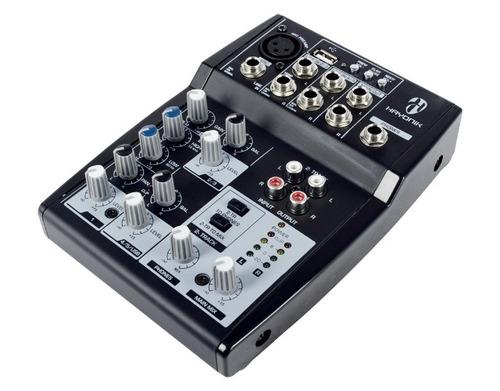 mesa de som 5 canais usb mixer hmx-105 hayonik