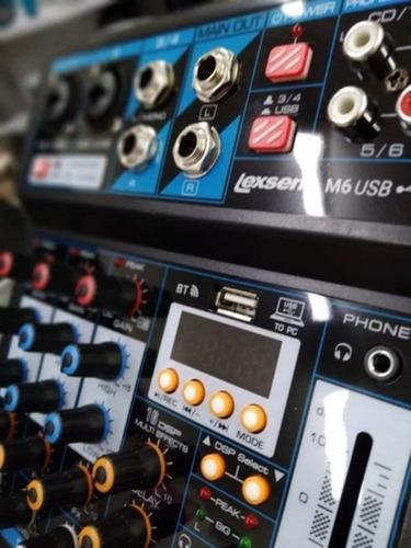 mesa de som 6 canais c/ placa de áudio interface usb m6 live