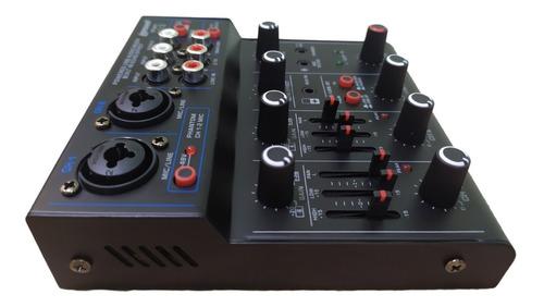 mesa de som 6 canais lexsen interface usb para stream mix2
