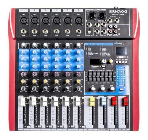 mesa de som 6 canais soundvoice ms602eux  efeito/usb/equaliz