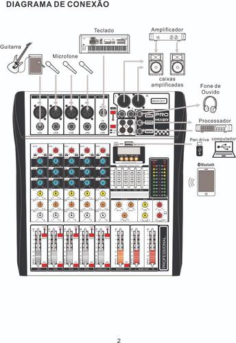 mesa de som 8 canais ksr pro usb gravador - full - loja