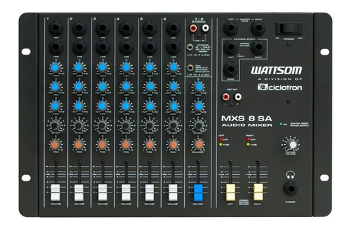 mesa de som 8 canais - wattsom / ciclotron .. mxs 8 sa