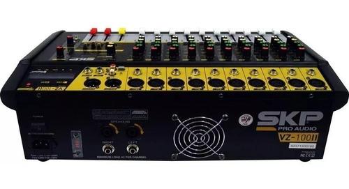 mesa de som amplificada 10 canais usb 500w vz-100 ii skp