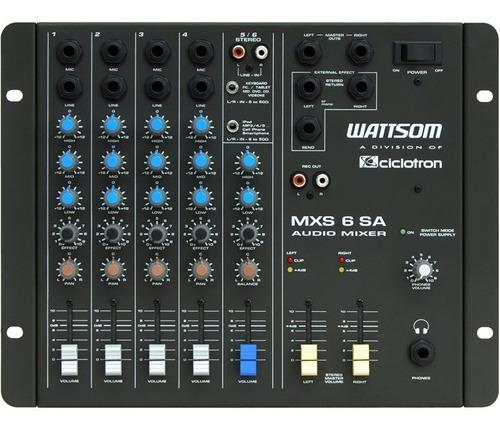 mesa de som analógica 6 canais wattsom mxs 6 sa ciclotron