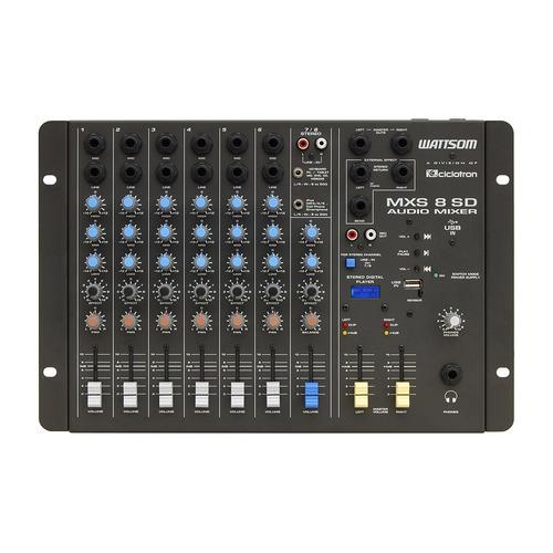 mesa de som analógica ciclotron mxs 08 sd c/ 08 canais