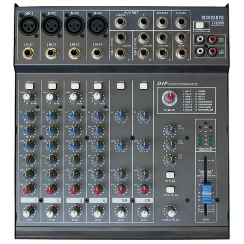 mesa de som c/ 8 ch c/ 240w /ph/1 aux - 8240 pd csr