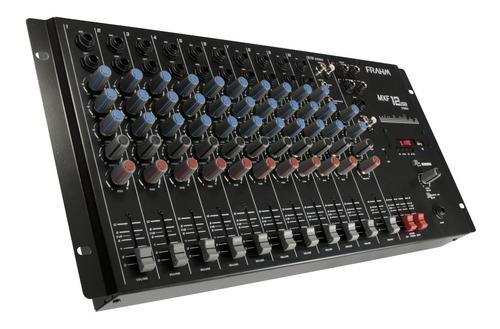 mesa de som frahm 12 canais com usb para pendrive mxf 12 usb