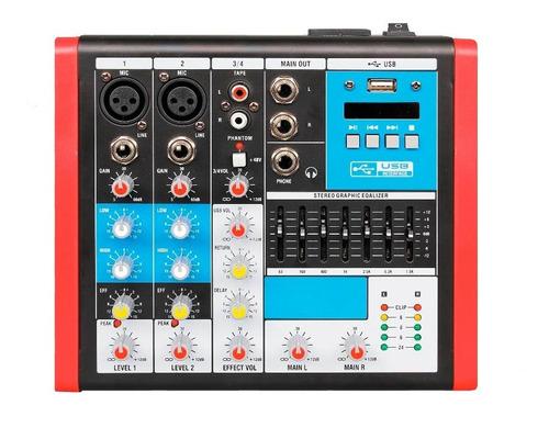 mesa de som mc4 eux mixer 4 canais usb equalizador soundvoic