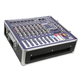 Mesa De Som Mixer Amplificado 1100w + Case, Phantom Pwr+ Usb