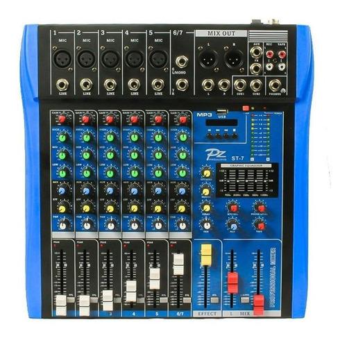 mesa de som pz 7 canais c/ usb / bluetooth 1 aux pzst7