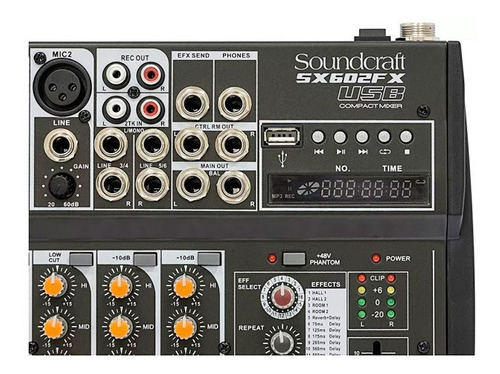 mesa de som soundcraft sx602fx-usb