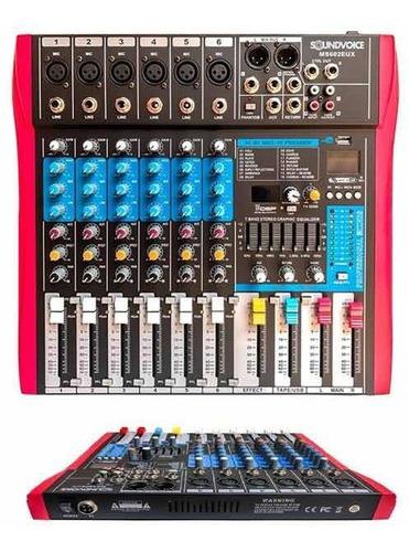 mesa de som soundvoice ms602 eux com efeito e usb c/ equaliz