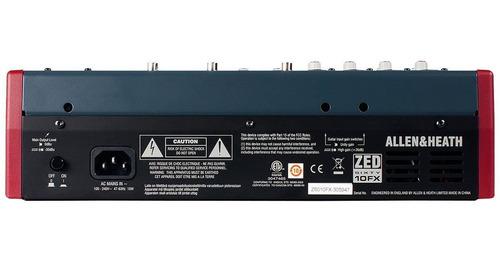 mesa de som zed60-10fx 8ch com usb/ ph/ 1aux - allenheath