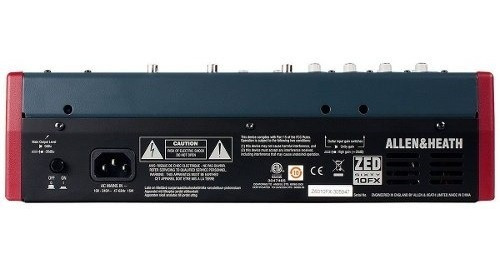 mesa de som zed60-10fx 8ch usb/ ph/ 1aux - allenheath