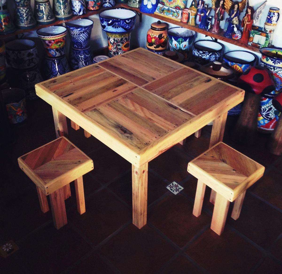 Mesa de tarima madera reciclada 2 en mercado libre for Diseno de muebles con madera reciclada