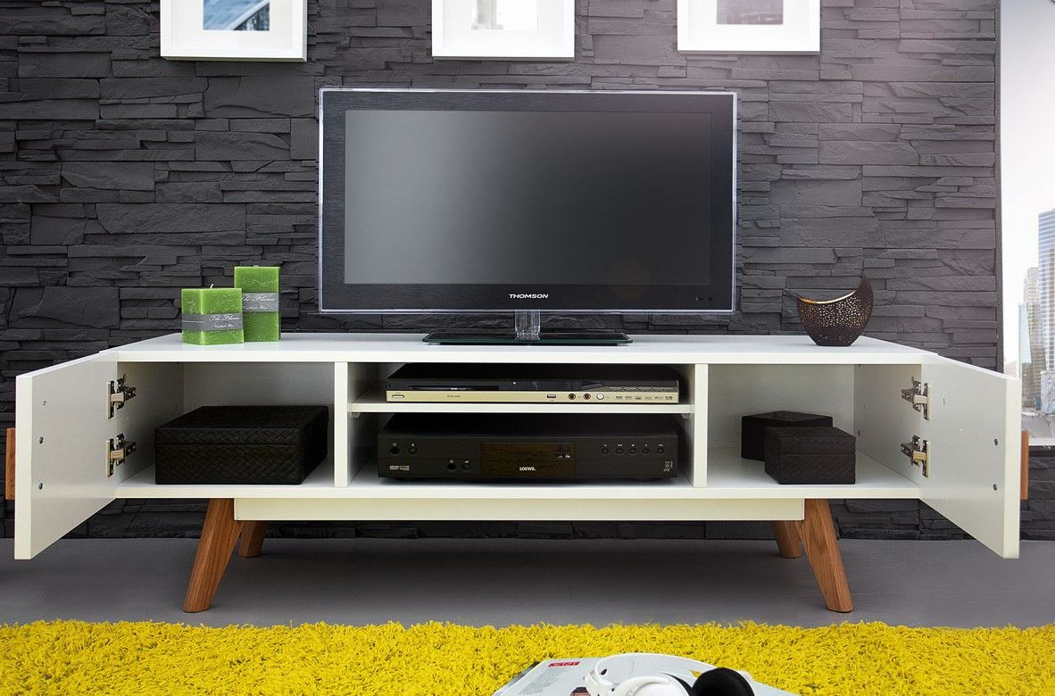 Mesa De Television Moderna Blanco Y Cedro Ref Quiron  $ 599900 en