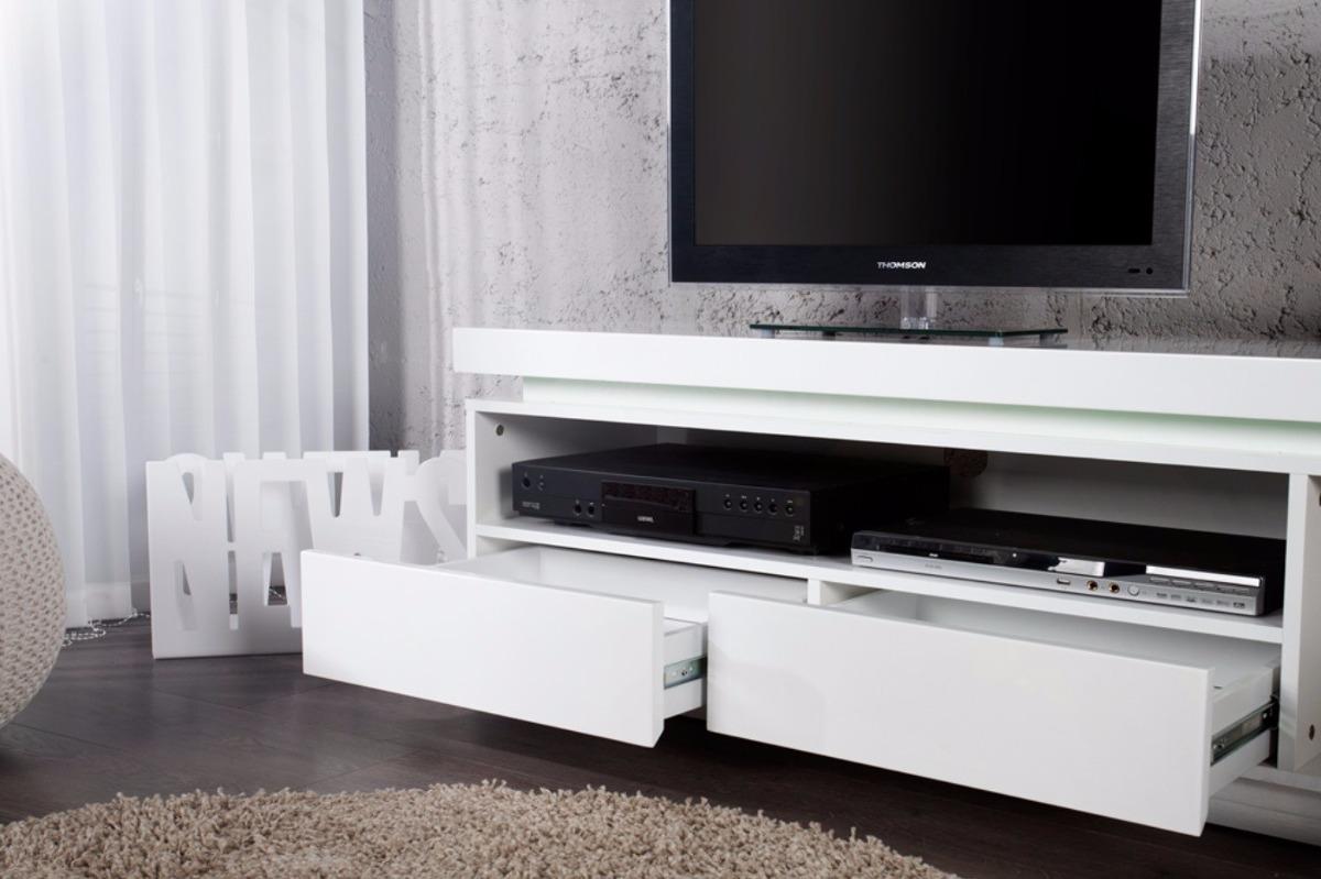 Mesa de televisi n moderna en madera lacada ref emerson for Mesas para tv modernas