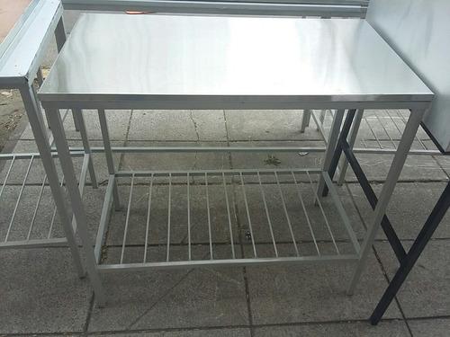 mesa de trabajo acero inoxidable 100x55 cm mesada c/ estante