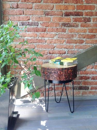 mesa de tronco de madera natural