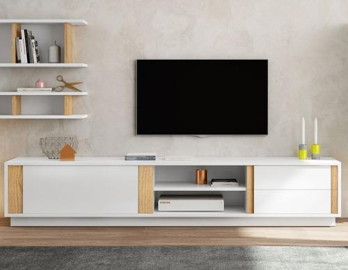 mesa de tv diseño contemporaneo blanco y roble ref: cetus
