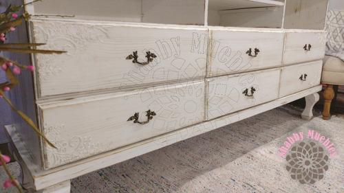 mesa de tv mueble madera 6 cajones shabby provenzal vintage