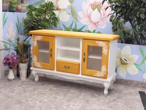 mesa de tv mueble madera shabby chic blanco y miel vintage