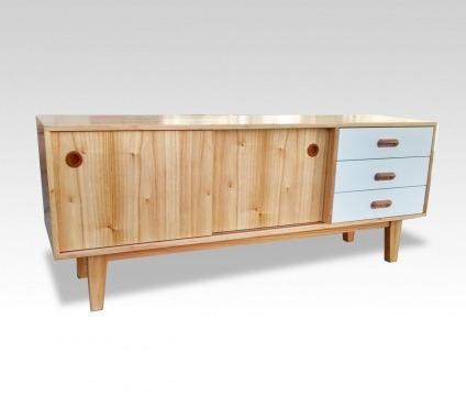 mesa de tv nordica 2 puertas corredizas oslo 3 cajones blanc