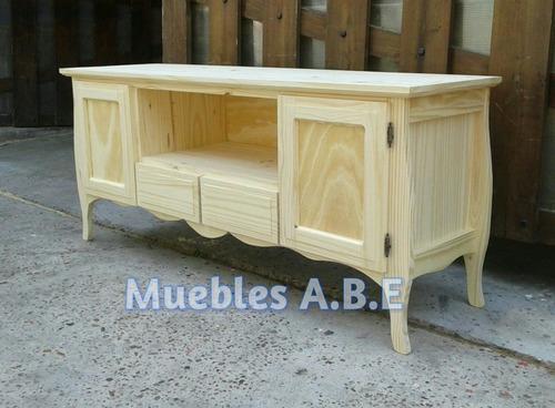 mesa de tv vintage dos puertas y dos cajones mueble de pino