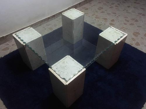 mesa de vidrio con marmol