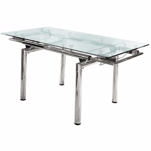Mesa de vidrio extensible rectangular patas cromadas - Patas cromadas para mesa ...