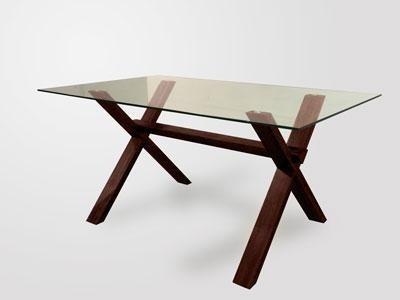 mesa de vidrio rectangular base madera cruz 180 x 90 moderna