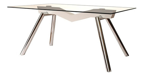 mesa de vidrio rectangular melody 160 x 90cm cromada moderna