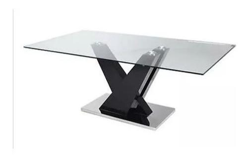 mesa de vidrio rectangular vanna base central 200 x 100