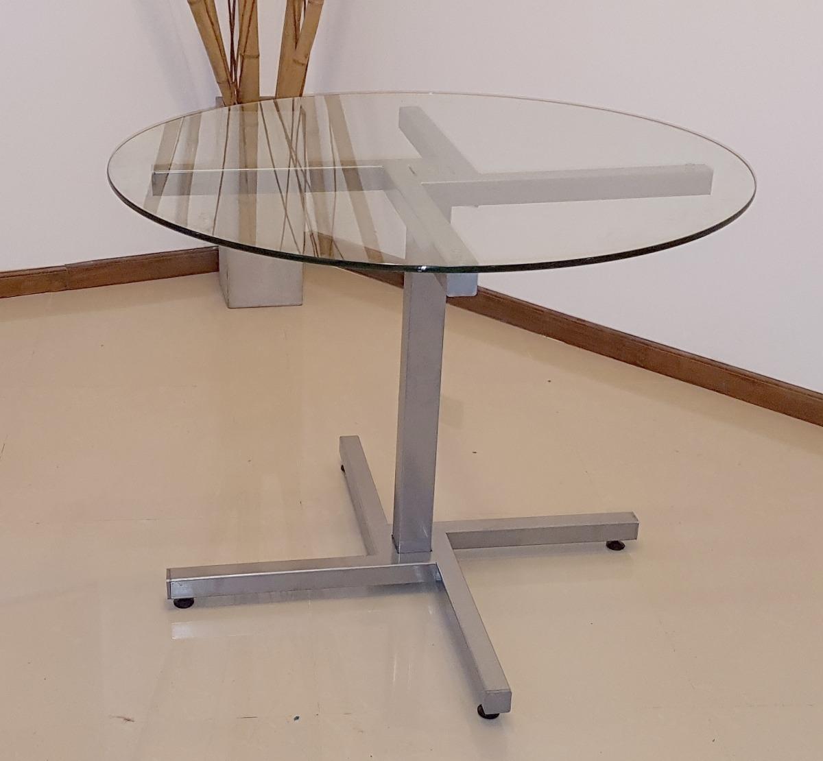 Mesa De Vidrio Redonda 1 M Diseño Moderno Cocina Comedor - $ 4.939 ...