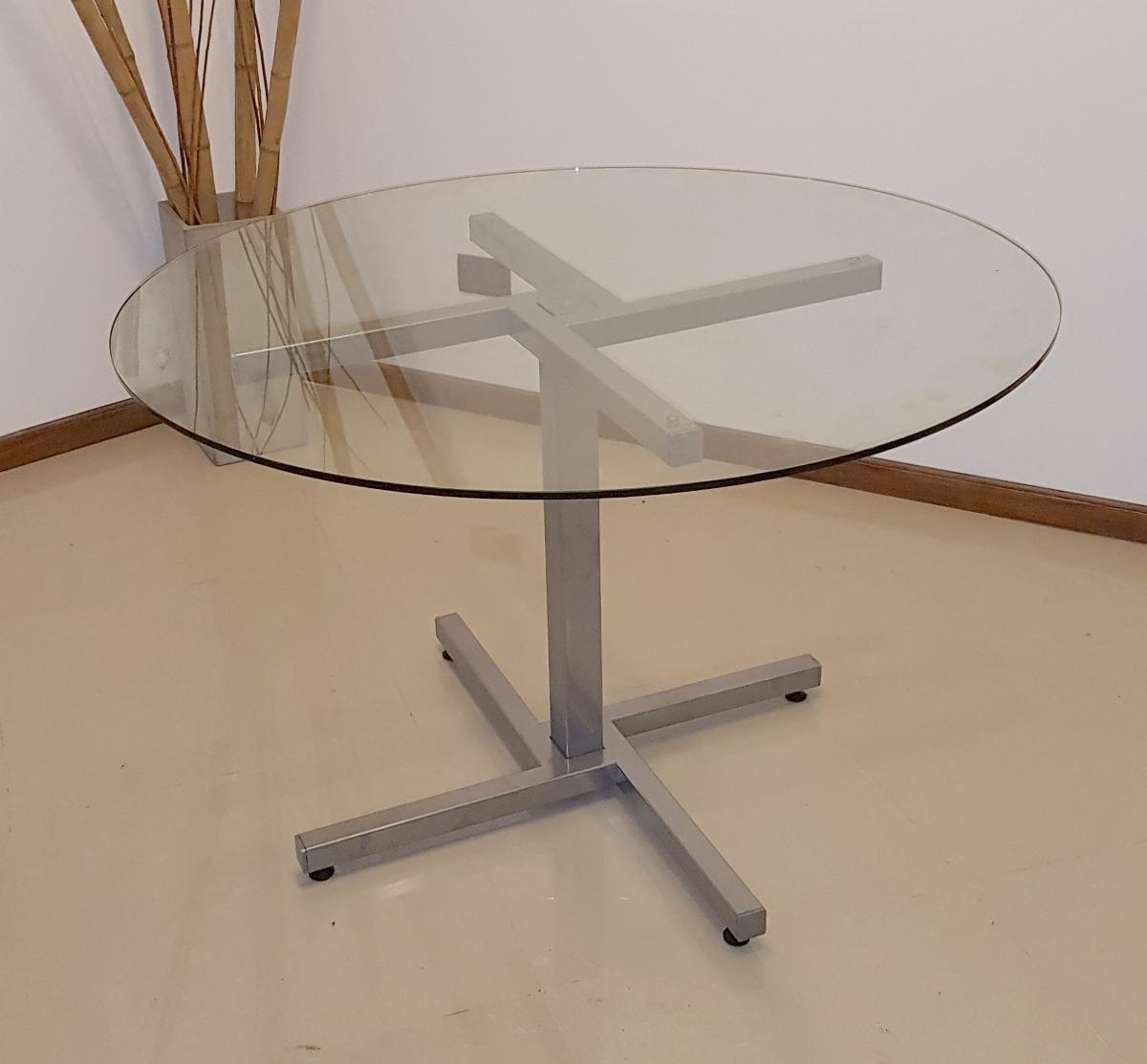 Mesa De Vidrio Redonda 1,20 M Diseño Moderno Cocina Comedor ...