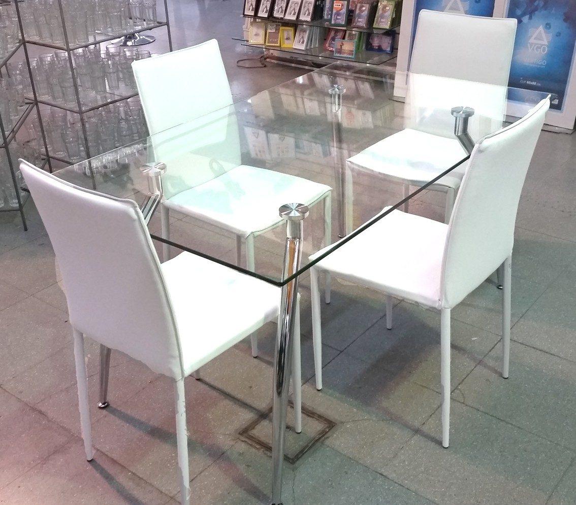 Mesas y sillas blancas mesa de vidrio templado x sillas blancas mesa de comedor de con juego - Mesas de vidrio templado ...