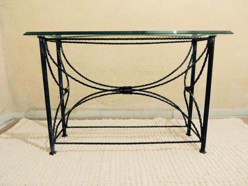 Mesa de vidrio y hierro forjado 4 en mercado libre for Mesas de hierro forjado
