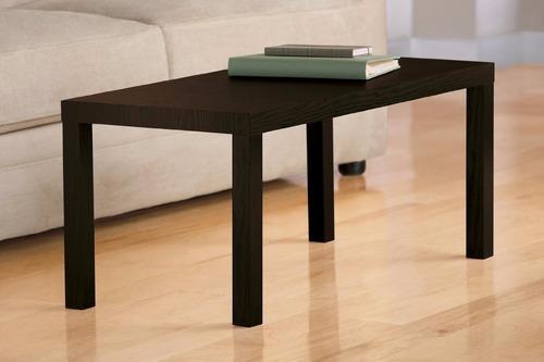 mesa decorativa de centro color negra madera clara y obscura